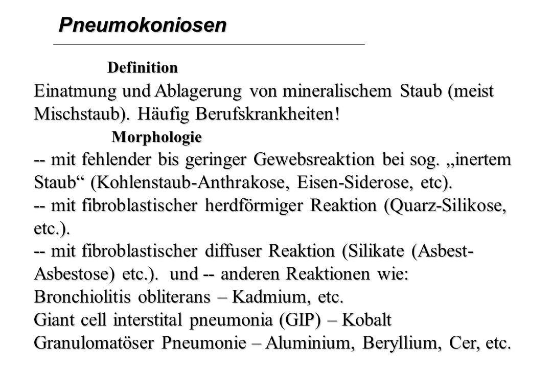 Pneumokoniosen Definition Definition Einatmung und Ablagerung von mineralischem Staub (meist Mischstaub). Häufig Berufskrankheiten! Morphologie Morpho