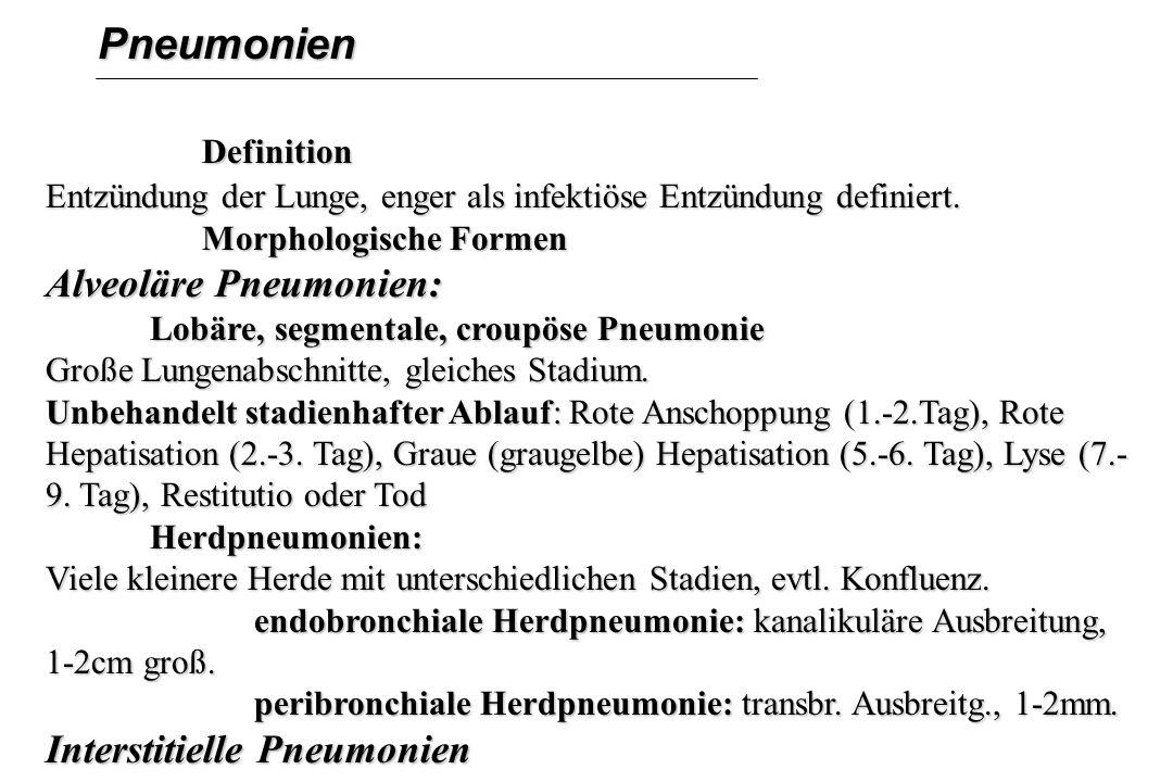 Pneumonien Definition Definition Entzündung der Lunge, enger als infektiöse Entzündung definiert. Morphologische Formen Morphologische Formen Alveolär