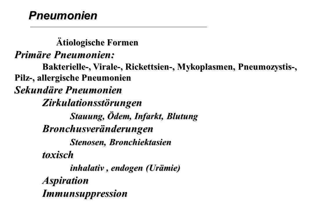 Pneumonien Ätiologische Formen Ätiologische Formen Primäre Pneumonien: Bakterielle-, Virale-, Rickettsien-, Mykoplasmen, Pneumozystis-, Pilz-, allergi