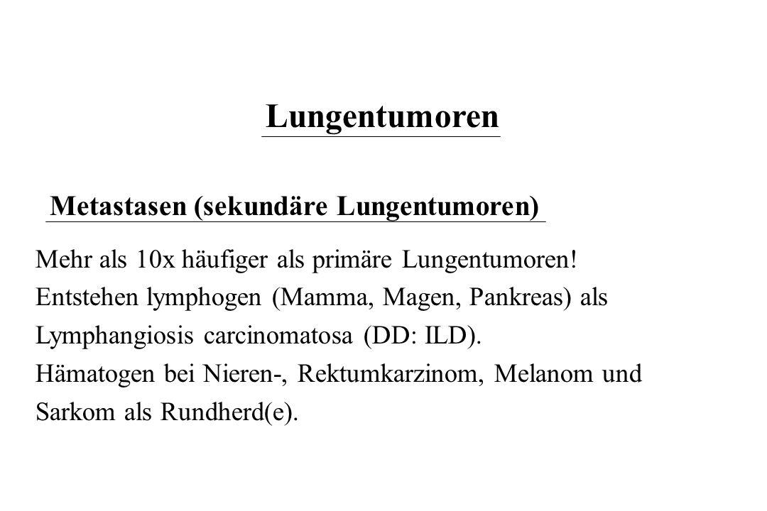 Lungentumoren Metastasen (sekundäre Lungentumoren) Mehr als 10x häufiger als primäre Lungentumoren! Entstehen lymphogen (Mamma, Magen, Pankreas) als L