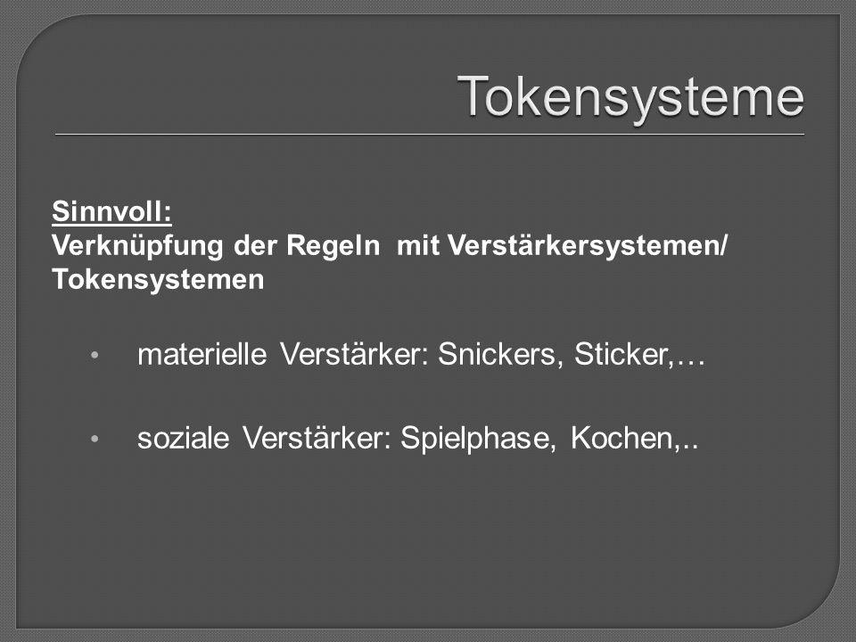 Sinnvoll: Verknüpfung der Regeln mit Verstärkersystemen/ Tokensystemen materielle Verstärker: Snickers, Sticker,… soziale Verstärker: Spielphase, Kochen,..