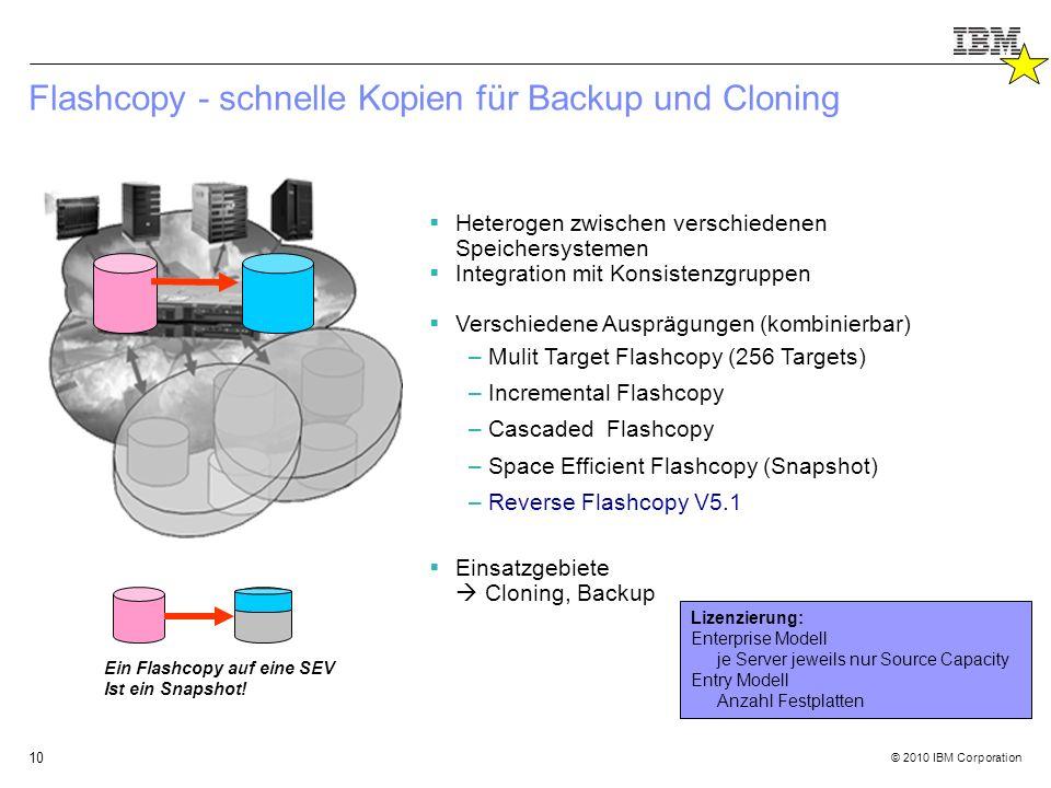 © 2010 IBM Corporation 10 Flashcopy - schnelle Kopien für Backup und Cloning  Heterogen zwischen verschiedenen Speichersystemen  Integration mit Konsistenzgruppen  Verschiedene Ausprägungen (kombinierbar) –Mulit Target Flashcopy (256 Targets) –Incremental Flashcopy –Cascaded Flashcopy –Space Efficient Flashcopy (Snapshot) –Reverse Flashcopy V5.1  Einsatzgebiete  Cloning, Backup Ein Flashcopy auf eine SEV Ist ein Snapshot.