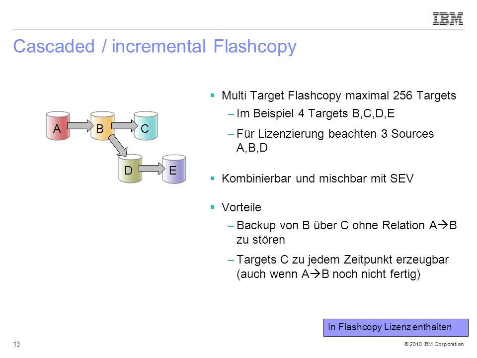 © 2010 IBM Corporation 13 Cascaded / incremental Flashcopy  Multi Target Flashcopy maximal 256 Targets –Im Beispiel 4 Targets B,C,D,E –Für Lizenzierung beachten 3 Sources A,B,D  Kombinierbar und mischbar mit SEV  Vorteile –Backup von B über C ohne Relation A  B zu stören –Targets C zu jedem Zeitpunkt erzeugbar (auch wenn A  B noch nicht fertig) A BC DE In Flashcopy Lizenz enthalten