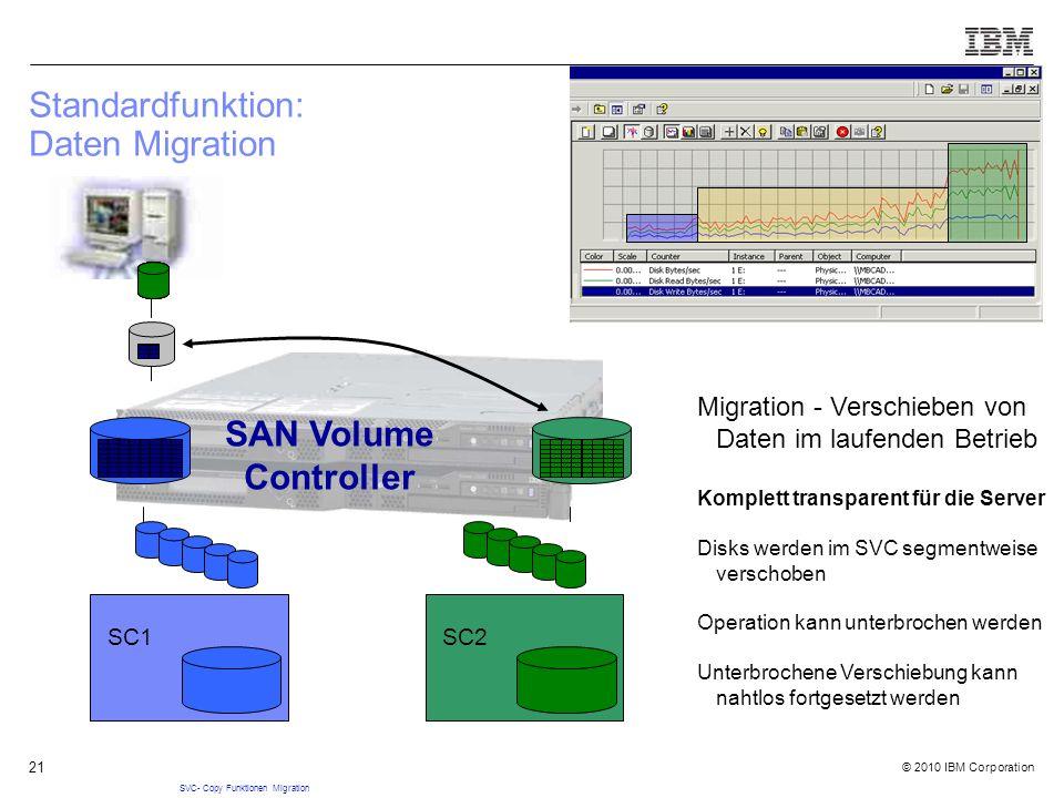 © 2010 IBM Corporation 21 Standardfunktion: Daten Migration SC1 SC2 SAN Volume Controller SVC- Copy Funktionen Migration Migration - Verschieben von Daten im laufenden Betrieb Komplett transparent für die Server Disks werden im SVC segmentweise verschoben Operation kann unterbrochen werden Unterbrochene Verschiebung kann nahtlos fortgesetzt werden