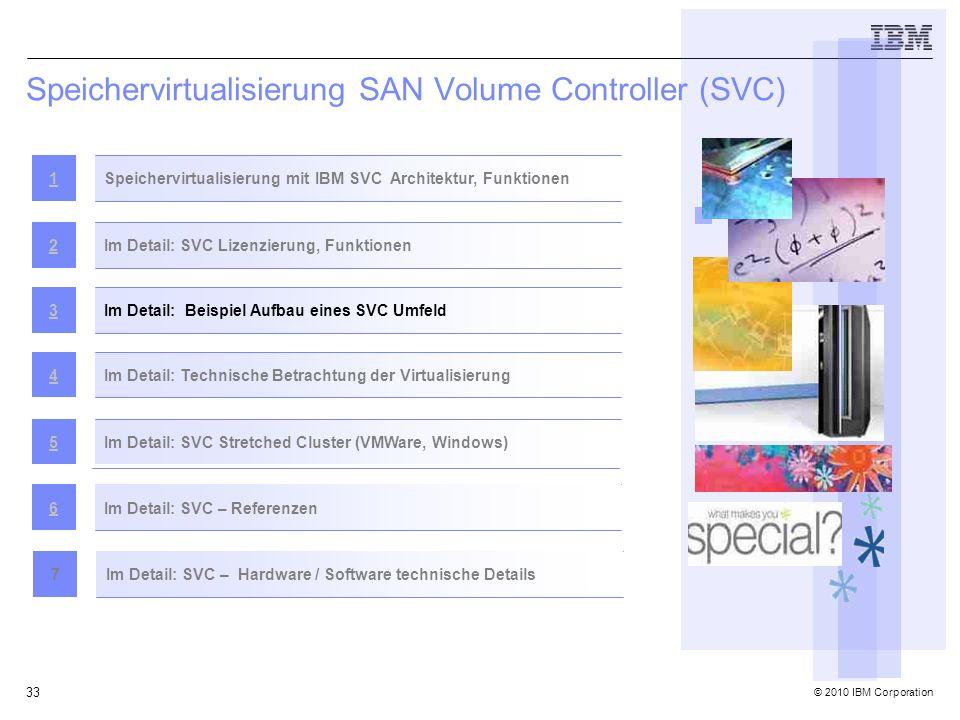 © 2010 IBM Corporation 33 Speichervirtualisierung SAN Volume Controller (SVC) Speichervirtualisierung mit IBM SVC Architektur, Funktionen1 Im Detail: SVC Lizenzierung, Funktionen2 Im Detail: Beispiel Aufbau eines SVC Umfeld3Im Detail: Technische Betrachtung der Virtualisierung4 Im Detail: SVC Stretched Cluster (VMWare, Windows)5 Im Detail: SVC – Referenzen6 Im Detail: SVC – Hardware / Software technische Details7