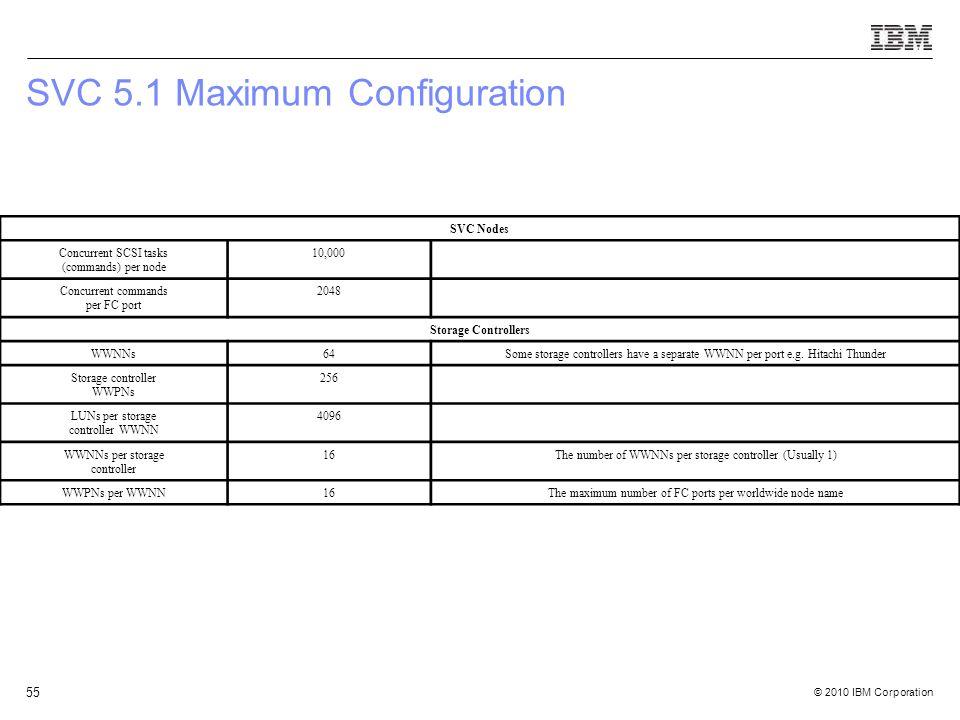 © 2010 IBM Corporation 55 SVC 5.1 Maximum Configuration SVC Nodes Concurrent SCSI tasks (commands) per node 10,000 Concurrent commands per FC port 204