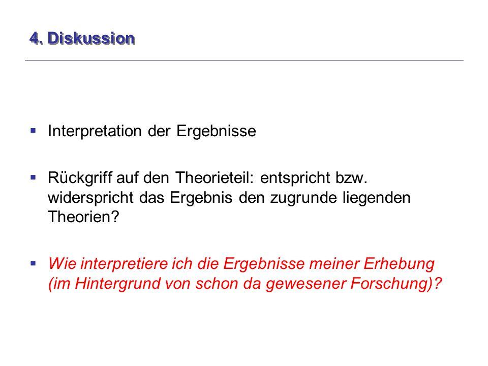 4. Diskussion  Interpretation der Ergebnisse  Rückgriff auf den Theorieteil: entspricht bzw.
