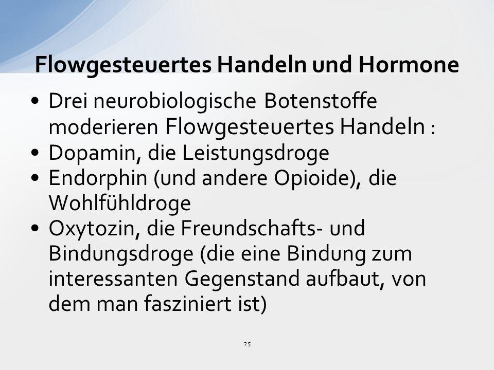 25 Flowgesteuertes Handeln und Hormone Drei neurobiologische Botenstoffe moderieren Flowgesteuertes Handeln : Dopamin, die Leistungsdroge Endorphin (und andere Opioide), die Wohlfühldroge Oxytozin, die Freundschafts- und Bindungsdroge (die eine Bindung zum interessanten Gegenstand aufbaut, von dem man fasziniert ist)