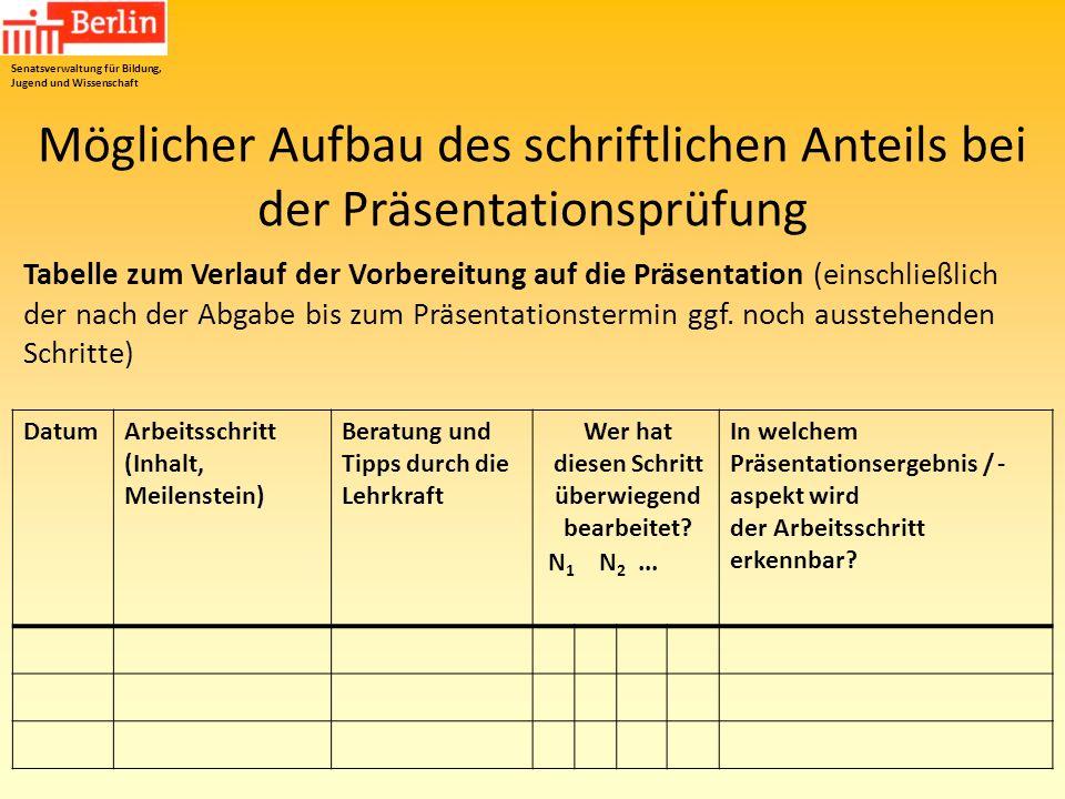 Möglicher Aufbau des schriftlichen Anteils bei der Präsentationsprüfung Tabelle zum Verlauf der Vorbereitung auf die Präsentation (einschließlich der
