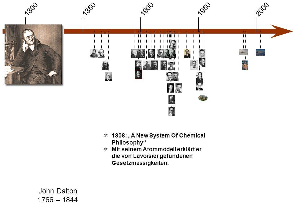 """1900 1850 1950 20001800 John Dalton 1766 – 1844  1808: """"A New System Of Chemical Philosophy  Mit seinem Atommodell erklärt er die von Lavoisier gefundenen Gesetzmässigkeiten."""
