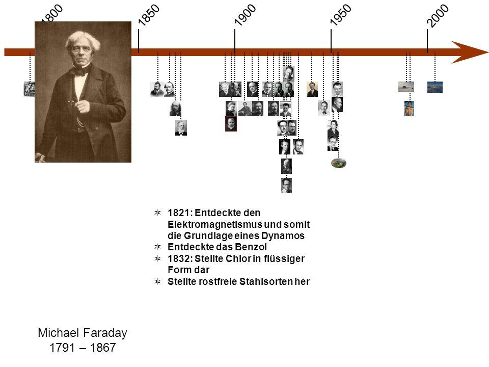 1900 1850 1950 20001800 Michael Faraday 1791 – 1867  1821: Entdeckte den Elektromagnetismus und somit die Grundlage eines Dynamos  Entdeckte das Ben