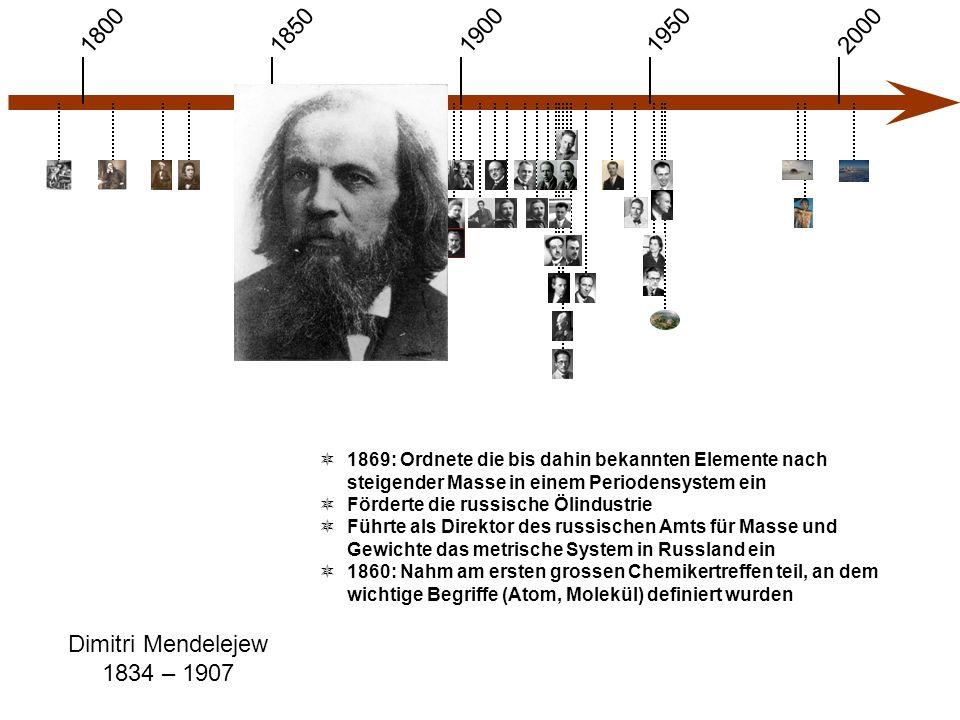 1900 1850 1950 20001800 Dimitri Mendelejew 1834 – 1907  1869: Ordnete die bis dahin bekannten Elemente nach steigender Masse in einem Periodensystem ein  Förderte die russische Ölindustrie  Führte als Direktor des russischen Amts für Masse und Gewichte das metrische System in Russland ein  1860: Nahm am ersten grossen Chemikertreffen teil, an dem wichtige Begriffe (Atom, Molekül) definiert wurden