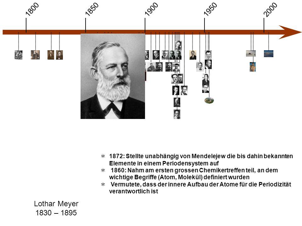 1900 1850 1950 20001800 Lothar Meyer 1830 – 1895  1872: Stellte unabhängig von Mendelejew die bis dahin bekannten Elemente in einem Periodensystem auf  1860: Nahm am ersten grossen Chemikertreffen teil, an dem wichtige Begriffe (Atom, Molekül) definiert wurden  Vermutete, dass der innere Aufbau der Atome für die Periodizität verantwortlich ist