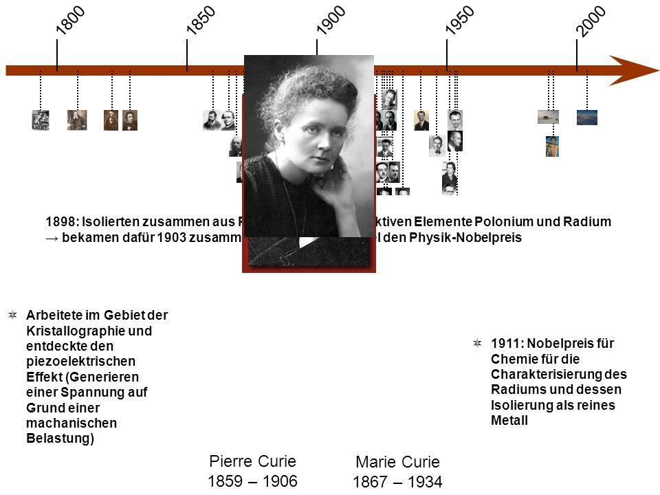 1900 1850 1950 20001800 Pierre Curie 1859 – 1906 Marie Curie 1867 – 1934  Arbeitete im Gebiet der Kristallographie und entdeckte den piezoelektrischen Effekt (Generieren einer Spannung auf Grund einer machanischen Belastung)  1911: Nobelpreis für Chemie für die Charakterisierung des Radiums und dessen Isolierung als reines Metall 1898: Isolierten zusammen aus Pechblende die radioaktiven Elemente Polonium und Radium → bekamen dafür 1903 zusammen mit Henri Becquerel den Physik-Nobelpreis