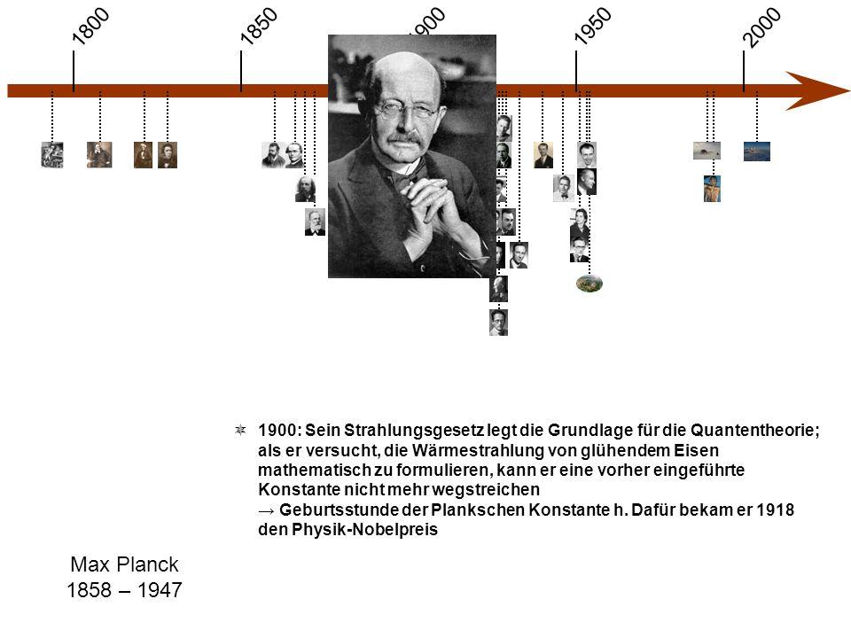 1900 1850 1950 20001800 Max Planck 1858 – 1947  1900: Sein Strahlungsgesetz legt die Grundlage für die Quantentheorie; als er versucht, die Wärmestrahlung von glühendem Eisen mathematisch zu formulieren, kann er eine vorher eingeführte Konstante nicht mehr wegstreichen → Geburtsstunde der Plankschen Konstante h.