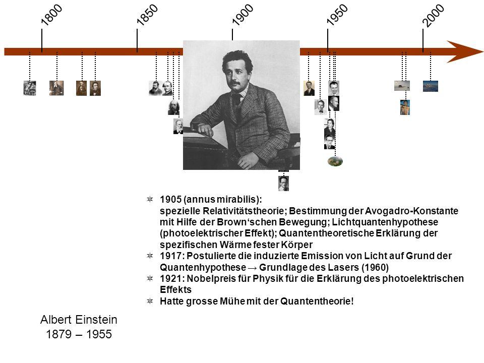 1900 1850 1950 20001800 Albert Einstein 1879 – 1955  1905 (annus mirabilis): spezielle Relativitätstheorie; Bestimmung der Avogadro-Konstante mit Hilfe der Brown'schen Bewegung; Lichtquantenhypothese (photoelektrischer Effekt); Quantentheoretische Erklärung der spezifischen Wärme fester Körper  1917: Postulierte die induzierte Emission von Licht auf Grund der Quantenhypothese → Grundlage des Lasers (1960)  1921: Nobelpreis für Physik für die Erklärung des photoelektrischen Effekts  Hatte grosse Mühe mit der Quantentheorie!