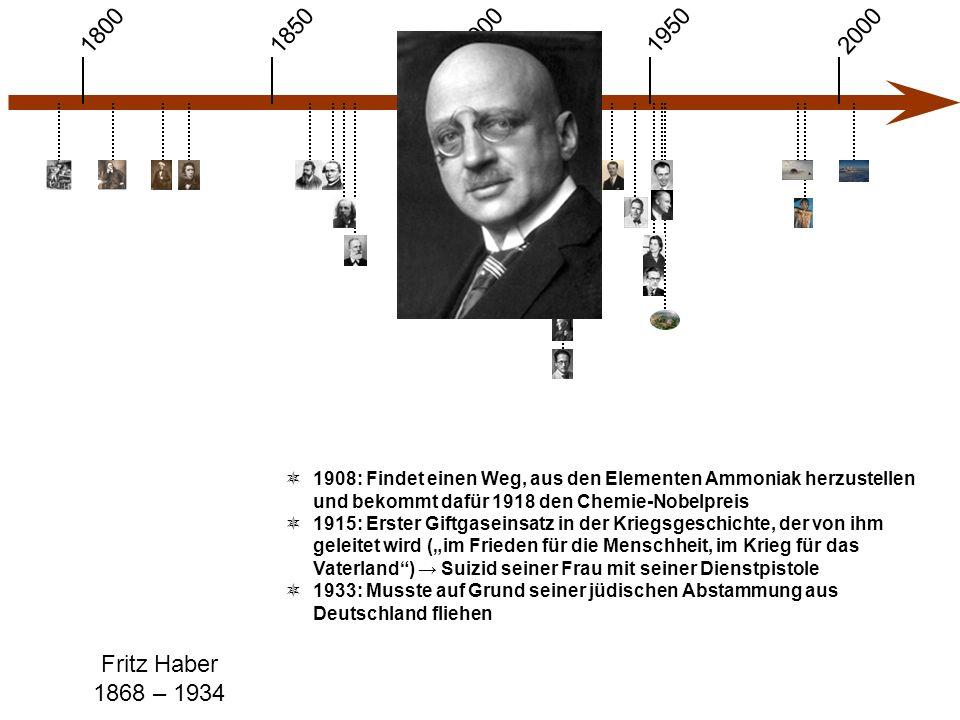 1900 1850 1950 20001800 Fritz Haber 1868 – 1934  1908: Findet einen Weg, aus den Elementen Ammoniak herzustellen und bekommt dafür 1918 den Chemie-No