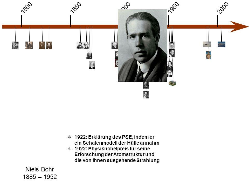 1900 1850 1950 20001800 Niels Bohr 1885 – 1952  1922: Erklärung des PSE, indem er ein Schalenmodell der Hülle annahm  1922: Physiknobelpreis für seine Erforschung der Atomstruktur und die von ihnen ausgehende Strahlung