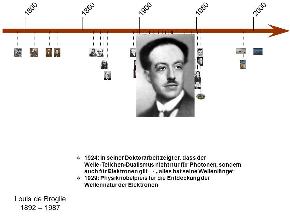 """1900 1850 1950 20001800 Louis de Broglie 1892 – 1987  1924: In seiner Doktorarbeit zeigt er, dass der Welle-Teilchen-Dualismus nicht nur für Photonen, sondern auch für Elektronen gilt → """"alles hat seine Wellenlänge  1929: Physiknobelpreis für die Entdeckung der Wellennatur der Elektronen"""