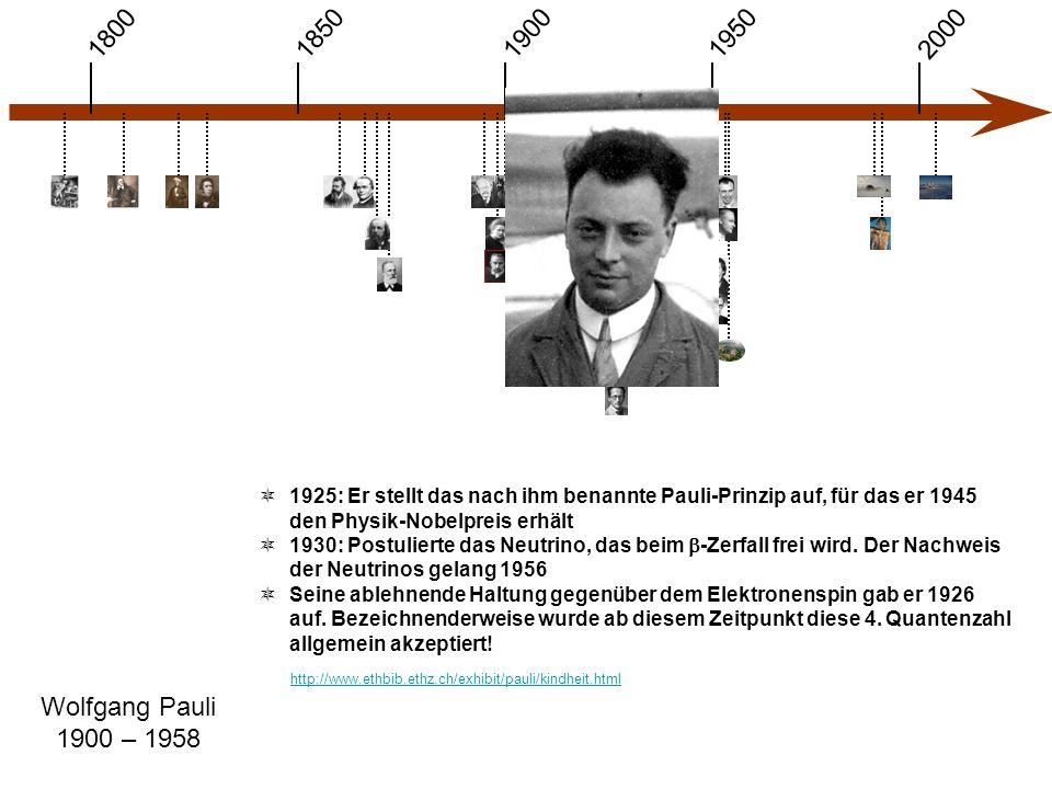 1900 1850 1950 20001800 Wolfgang Pauli 1900 – 1958  1925: Er stellt das nach ihm benannte Pauli-Prinzip auf, für das er 1945 den Physik-Nobelpreis erhält  1930: Postulierte das Neutrino, das beim  -Zerfall frei wird.