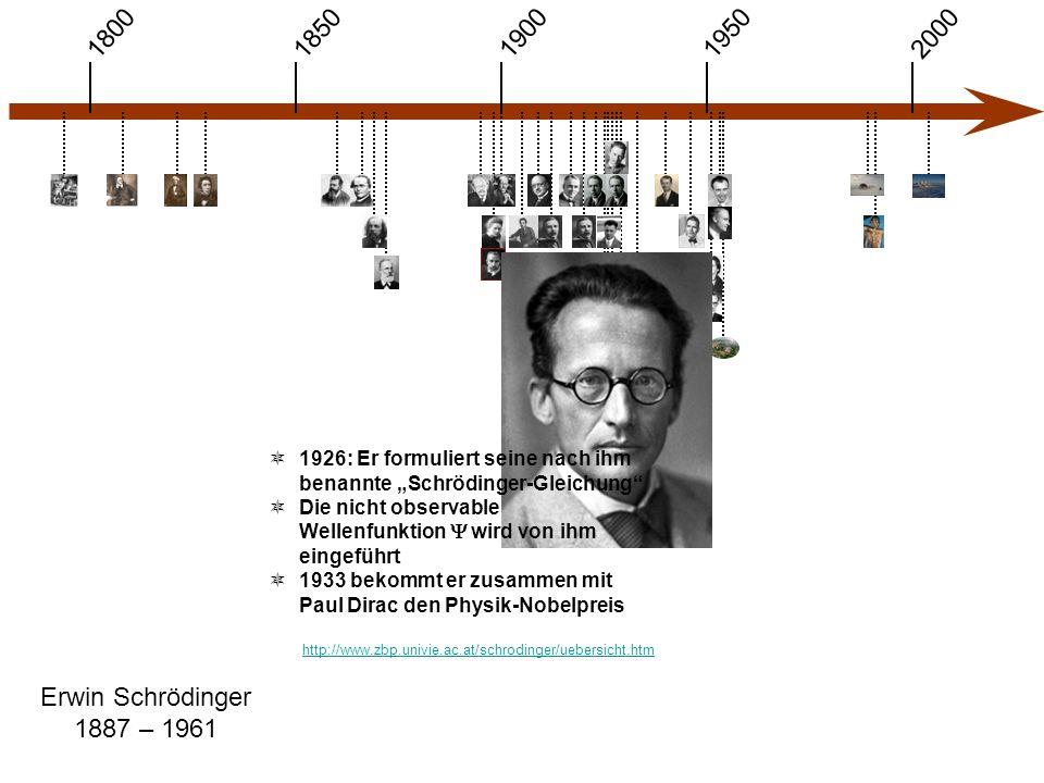 """1900 1850 1950 20001800 Erwin Schrödinger 1887 – 1961 http://www.zbp.univie.ac.at/schrodinger/uebersicht.htm  1926: Er formuliert seine nach ihm benannte """"Schrödinger-Gleichung  Die nicht observable Wellenfunktion  wird von ihm eingeführt  1933 bekommt er zusammen mit Paul Dirac den Physik-Nobelpreis"""