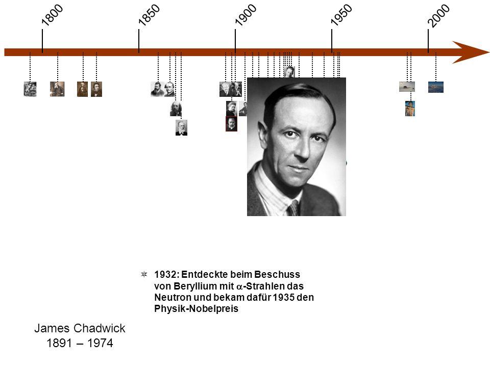 1900 1850 1950 20001800 James Chadwick 1891 – 1974  1932: Entdeckte beim Beschuss von Beryllium mit  -Strahlen das Neutron und bekam dafür 1935 den Physik-Nobelpreis