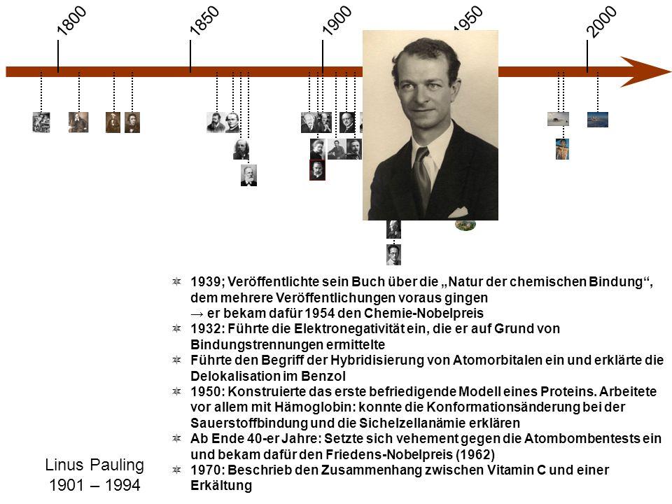 """1900 1850 1950 20001800 Linus Pauling 1901 – 1994  1939; Veröffentlichte sein Buch über die """"Natur der chemischen Bindung , dem mehrere Veröffentlichungen voraus gingen → er bekam dafür 1954 den Chemie-Nobelpreis  1932: Führte die Elektronegativität ein, die er auf Grund von Bindungstrennungen ermittelte  Führte den Begriff der Hybridisierung von Atomorbitalen ein und erklärte die Delokalisation im Benzol  1950: Konstruierte das erste befriedigende Modell eines Proteins."""