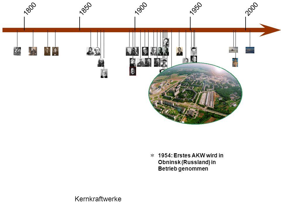 1900 1850 1950 20001800 Kernkraftwerke  1954: Erstes AKW wird in Obninsk (Russland) in Betrieb genommen