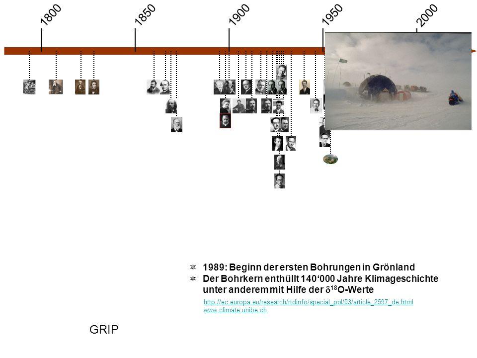 1900 1850 1950 20001800 GRIP http://ec.europa.eu/research/rtdinfo/special_pol/03/article_2597_de.html www.climate.unibe.ch  1989: Beginn der ersten Bohrungen in Grönland  Der Bohrkern enthüllt 140'000 Jahre Klimageschichte unter anderem mit Hilfe der  18 O-Werte