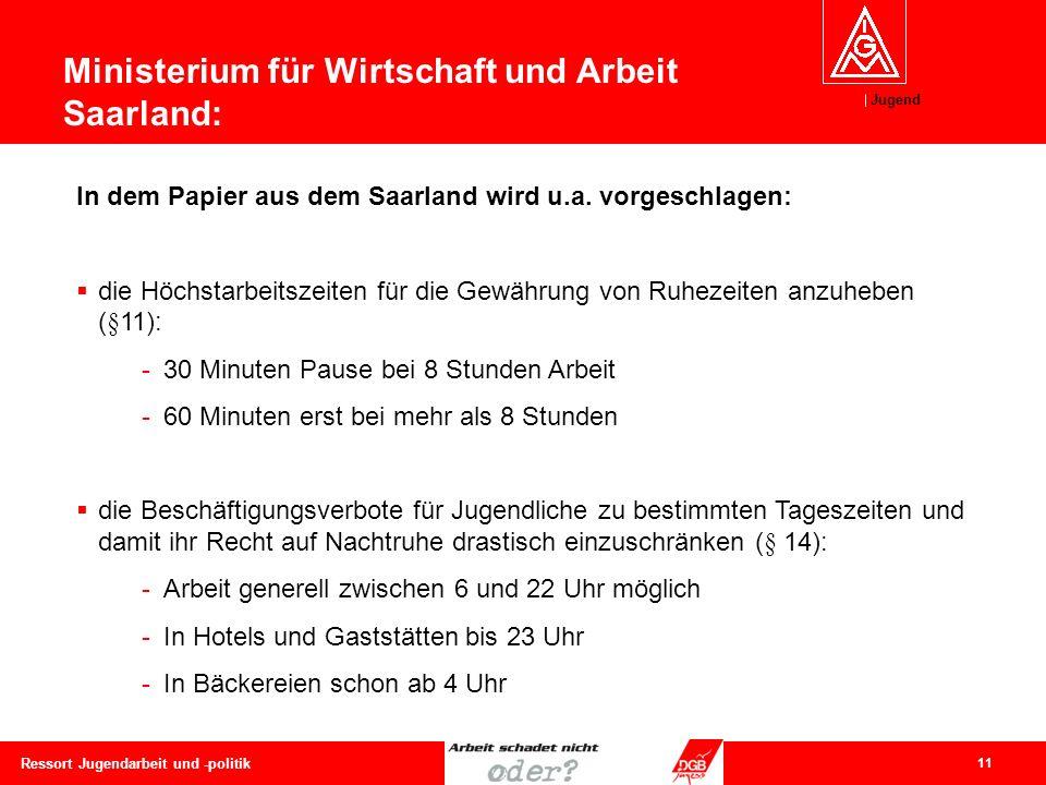 Jugend 11 Ressort Jugendarbeit und -politik In dem Papier aus dem Saarland wird u.a. vorgeschlagen:  die Höchstarbeitszeiten für die Gewährung von Ru