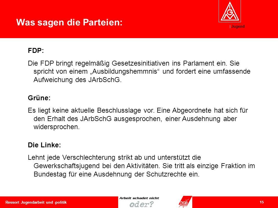 Jugend 15 Ressort Jugendarbeit und -politik Was sagen die Parteien: FDP: Die FDP bringt regelmäßig Gesetzesinitiativen ins Parlament ein. Sie spricht
