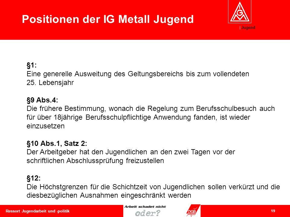 Jugend 19 Ressort Jugendarbeit und -politik Positionen der IG Metall Jugend §1: Eine generelle Ausweitung des Geltungsbereichs bis zum vollendeten 25.