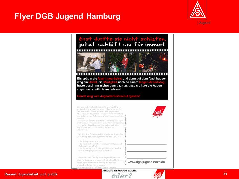 Jugend 23 Ressort Jugendarbeit und -politik Flyer DGB Jugend Hamburg