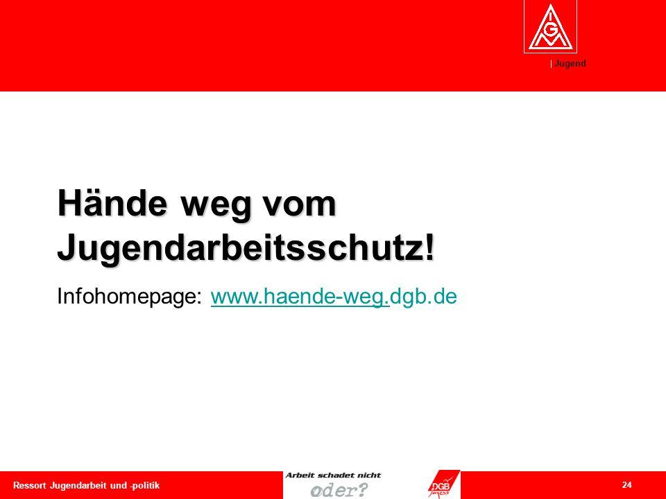 Jugend 24 Ressort Jugendarbeit und -politik Hände weg vom Jugendarbeitsschutz! Infohomepage: www.haende-weg.dgb.dewww.haende-weg.