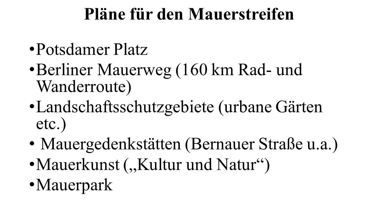 """Pläne für den Mauerstreifen Potsdamer Platz Berliner Mauerweg (160 km Rad- und Wanderroute) Landschaftsschutzgebiete (urbane Gärten etc.) Mauergedenkstätten (Bernauer Straße u.a.) Mauerkunst (""""Kultur und Natur ) Mauerpark"""