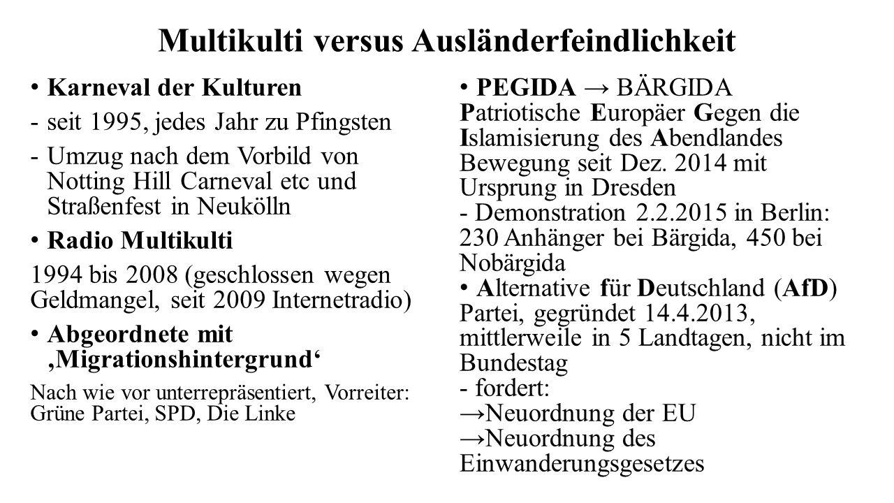 Multikulti versus Ausländerfeindlichkeit Karneval der Kulturen -seit 1995, jedes Jahr zu Pfingsten -Umzug nach dem Vorbild von Notting Hill Carneval etc und Straßenfest in Neukölln Radio Multikulti 1994 bis 2008 (geschlossen wegen Geldmangel, seit 2009 Internetradio) Abgeordnete mit 'Migrationshintergrund' Nach wie vor unterrepräsentiert, Vorreiter: Grüne Partei, SPD, Die Linke PEGIDA → BÄRGIDA Patriotische Europäer Gegen die Islamisierung des Abendlandes Bewegung seit Dez.