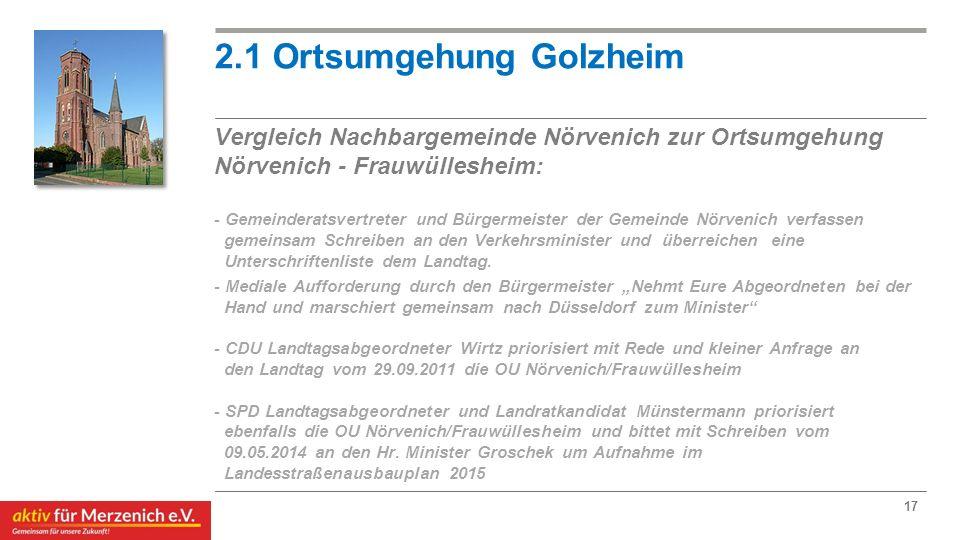 2.1 Ortsumgehung Golzheim Vergleich Nachbargemeinde Nörvenich zur Ortsumgehung Nörvenich - Frauwüllesheim: - Gemeinderatsvertreter und Bürgermeister der Gemeinde Nörvenich verfassen gemeinsam Schreiben an den Verkehrsminister und überreichen eine Unterschriftenliste dem Landtag.