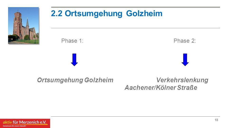 18 2.2 Ortsumgehung Golzheim Phase 1:Phase 2: Ortsumgehung Golzheim Verkehrslenkung Aachener/Kölner Straße