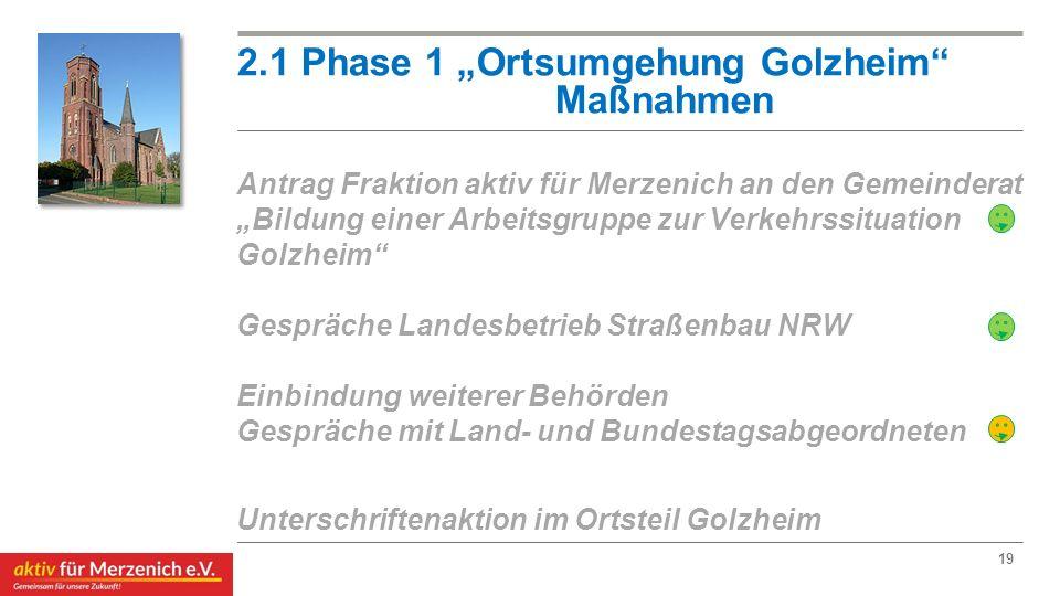 """2.1 Phase 1 """"Ortsumgehung Golzheim"""" Maßnahmen Antrag Fraktion aktiv für Merzenich an den Gemeinderat """"Bildung einer Arbeitsgruppe zur Verkehrssituatio"""