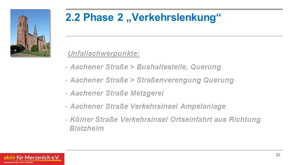 """2.2 Phase 2 """"Verkehrslenkung"""" Unfallschwerpunkte: - Aachener Straße > Bushaltestelle, Querung - Aachener Straße > Straßenverengung Querung - Aachener"""