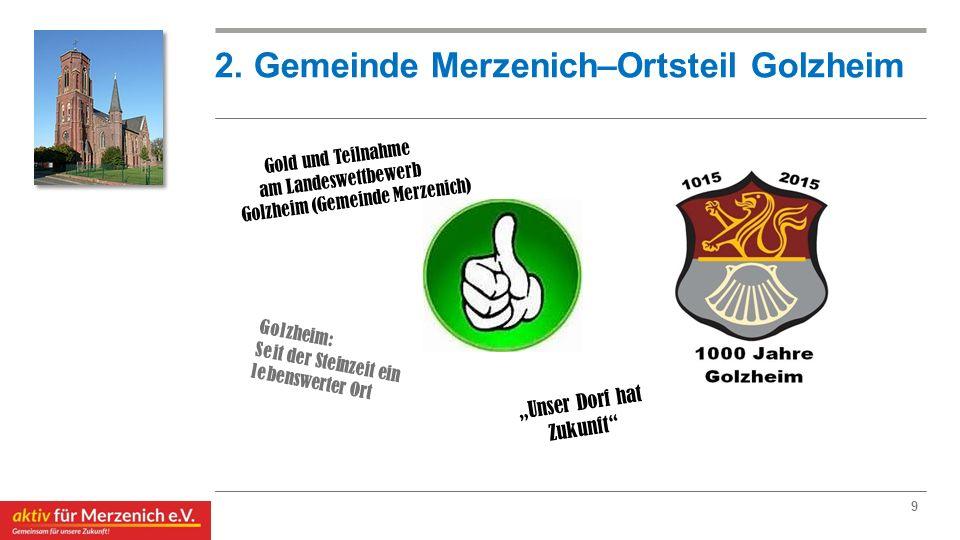 2. Gemeinde Merzenich–Ortsteil Golzheim Golzheim: Seit der Steinzeit ein lebenswerter Ort 9 Gold und Teilnahme am Landeswettbewerb Golzheim (Gemeinde