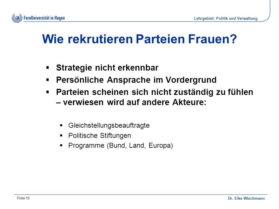 Lehrgebiet: Politik und Verwaltung Dr. Elke Wiechmann Folie 15 Wie rekrutieren Parteien Frauen.