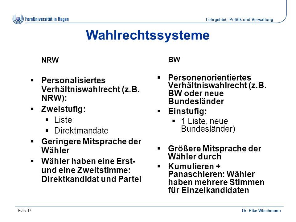 Lehrgebiet: Politik und Verwaltung Dr.