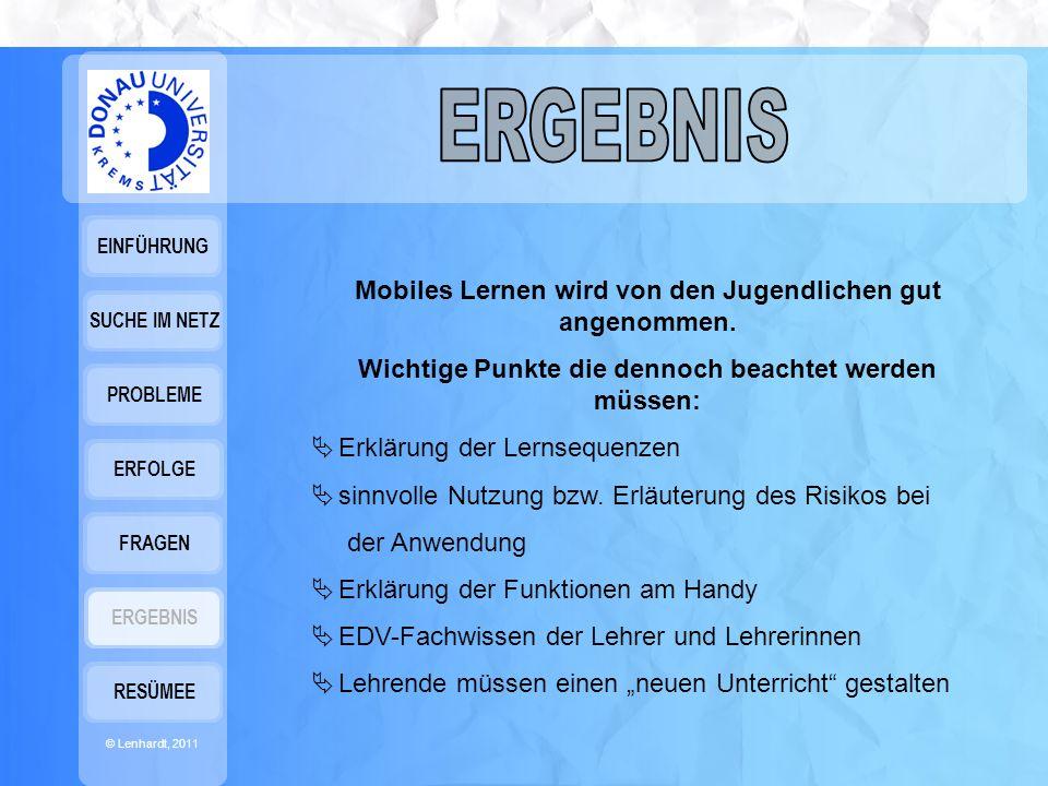 EINFÜHRUNG © Lenhardt, 2011 SUCHE IM NETZ PROBLEME ERFOLGE FRAGEN ERGEBNIS RESÜMEE Mobiles Lernen wird von den Jugendlichen gut angenommen.