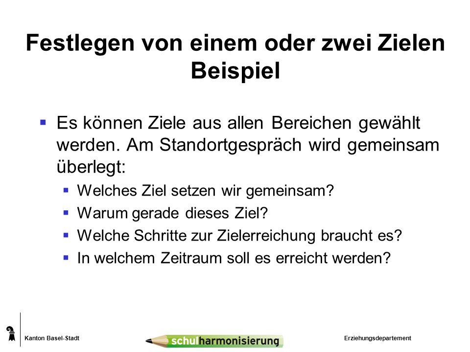 Kanton Basel-Stadt Festlegen von einem oder zwei Zielen Beispiel  Es können Ziele aus allen Bereichen gewählt werden. Am Standortgespräch wird gemein