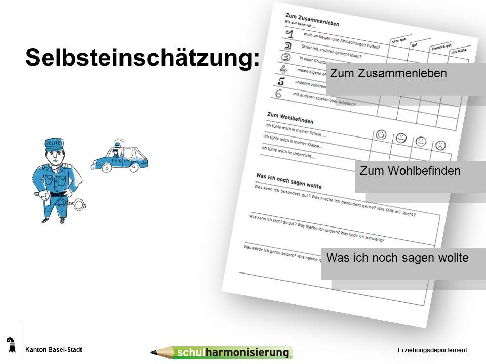 Kanton Basel-Stadt Erziehungsdepartement Selbsteinschätzung: Zum Zusammenleben Zum Wohlbefinden Was ich noch sagen wollte
