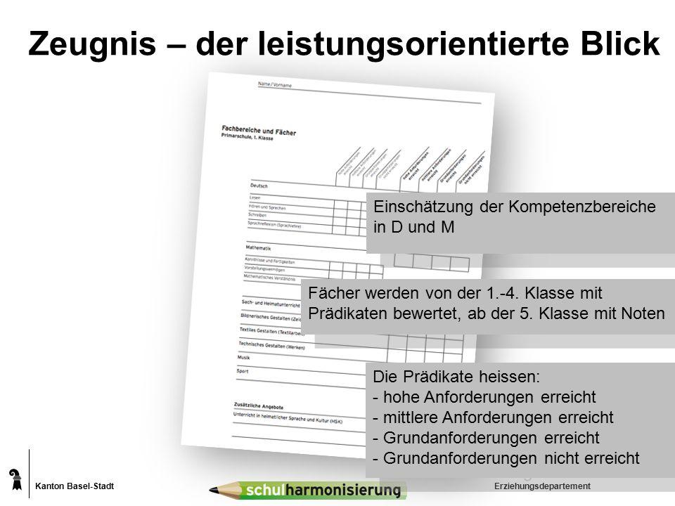 Kanton Basel-Stadt Zeugnis – der leistungsorientierte Blick Erziehungsdepartement Fächer werden von der 1.-4. Klasse mit Prädikaten bewertet, ab der 5