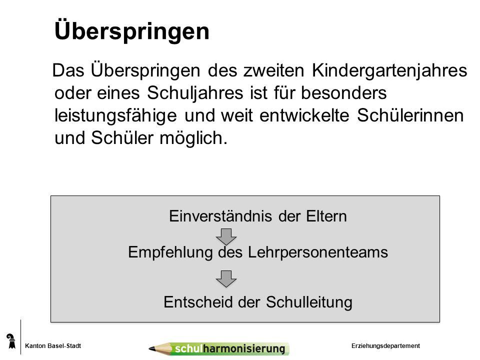 Kanton Basel-Stadt Überspringen Das Überspringen des zweiten Kindergartenjahres oder eines Schuljahres ist für besonders leistungsfähige und weit entwickelte Schülerinnen und Schüler möglich.