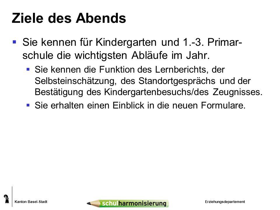 Kanton Basel-Stadt Ziele des Abends  Sie kennen für Kindergarten und 1.-3. Primar- schule die wichtigsten Abläufe im Jahr.  Sie kennen die Funktion