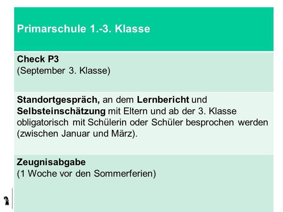Kanton Basel-Stadt Primarschule 1.-3. Klasse Check P3 (September 3. Klasse) Standortgespräch, an dem Lernbericht und Selbsteinschätzung mit Eltern und